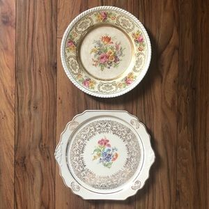 Vintage Floral Plates Mix and Match Set of 2